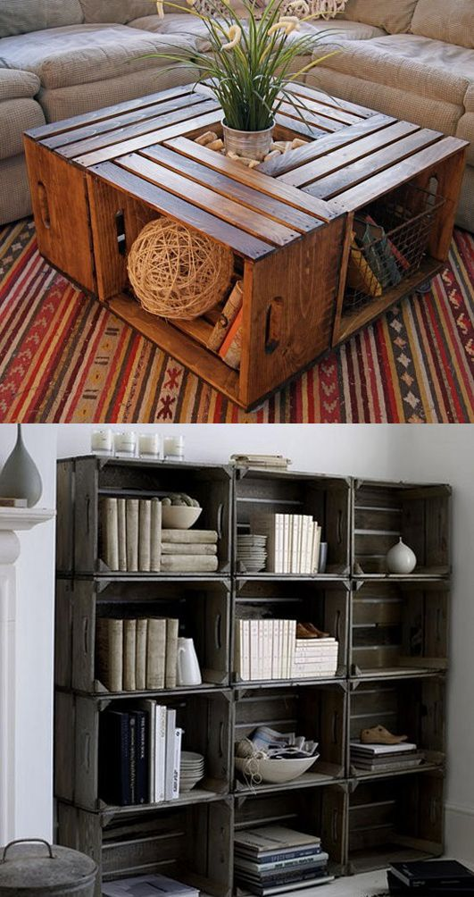 Hacer muebles de cajas de madera/ Make furniture wooden crates   #recycle design