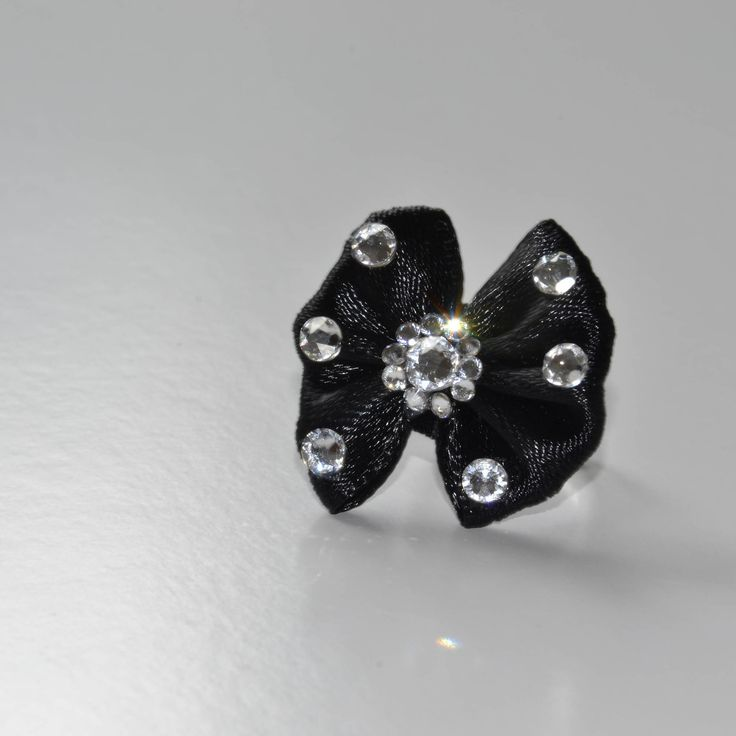 Black bow coctail ring, Swarovski stones by RikaUnicaJewellery on Etsy
