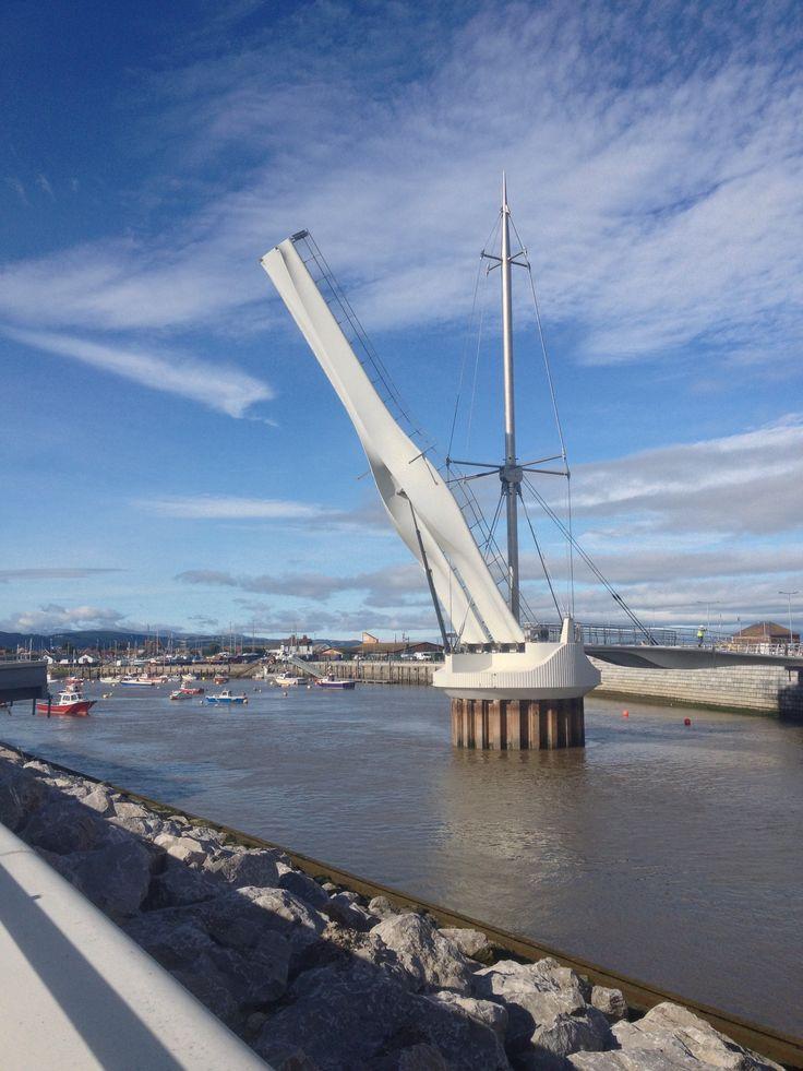 New lift bridge in Rhyl harbour. Rhyl North Wales.