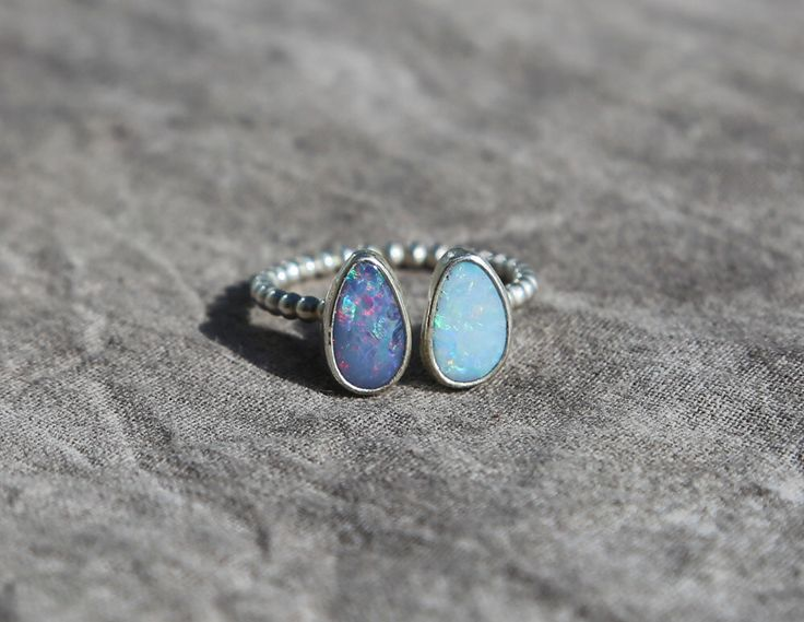 Twins Opal Stacking Ring, Australian Opal Doublet Ring, Sterling Opal Ring, Sterling Opal Doublet Ring, Sterling Ring by AtThursday on Etsy https://www.etsy.com/listing/214488321/twins-opal-stacking-ring-australian-opal