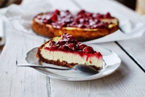 Tvarohový cheesecake a malinami