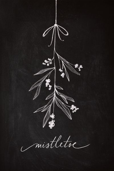 "Chalkboard Art - Mistletoe by Lianne Tokey // Baron Art Co. ART PRINT / MINI (7"" X 10"") $20.00"
