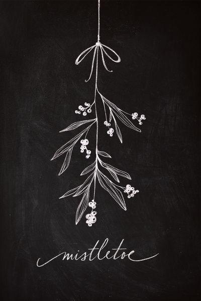 Chalkboard Art - Mistletoe Art Print Inspired....: Paint twigs, leaves and press onto velvet fabric for imprints. Frame it, hang it