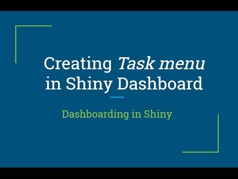 R Shiny Tutorial | Creating Task Menu in R Shiny Dashboard | R Programmi...