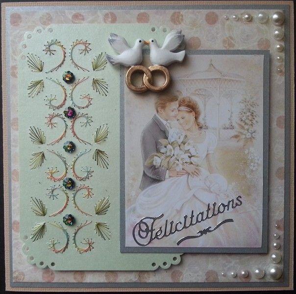 carte brodée, Félicitations mariage avec colombes de AuxPetitsArtistes sur DaWanda.com