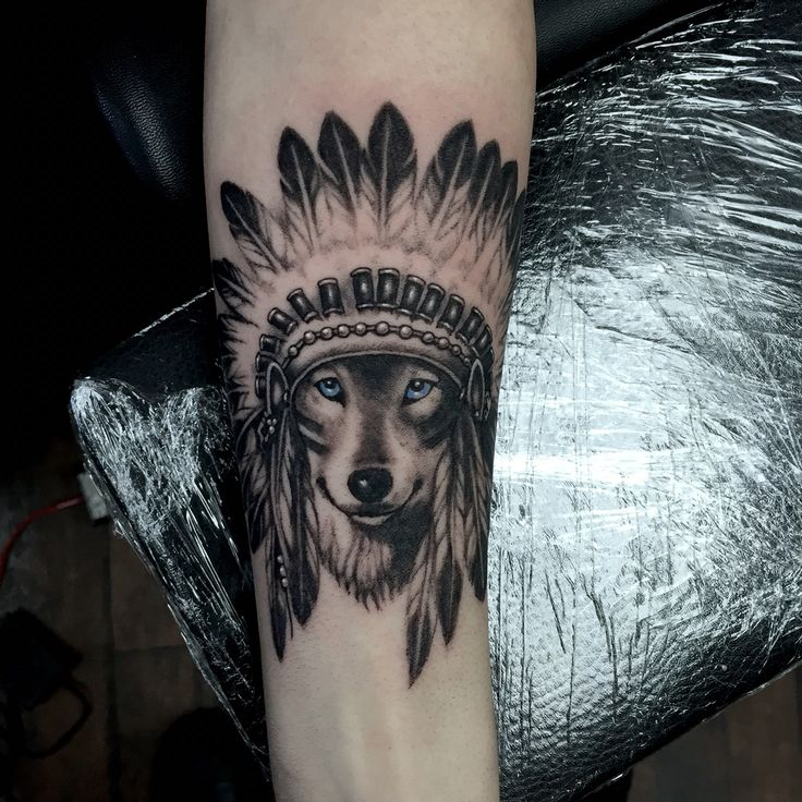 Wolf headdress tattoo by John McKee at Twisted Image Tattoo