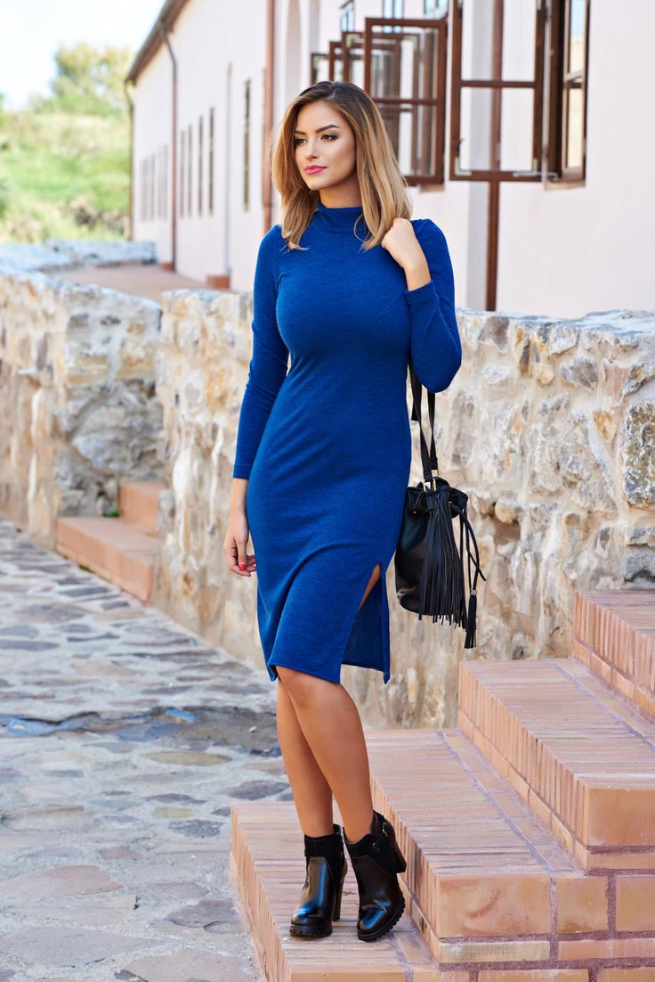 StarShinerS Fall Enthusiasm Blue Dress, long sleeves, turtle neck, form-fitting, knitted fabric