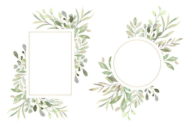 Download Floral Frames With Beautiful Watercolor Leaves For Free