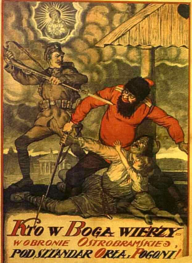 """Whoever believes in God let the weapons for Our Lady from Ostra Brama (in Vilnius) under the banner of the Eagle and Pogon (coats of arms of Polish and Lithuanian)"" - Polish propaganda poster."