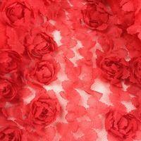 Шифоновая кружевная ткань с цветочной 3D вышивкой для пошива стильных платьев, блуз, юбок, свадебных платьев, декоративных изделий и скатертей