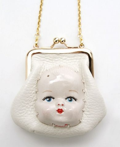 AHCAHCUM coin purse necklace with ceramic face