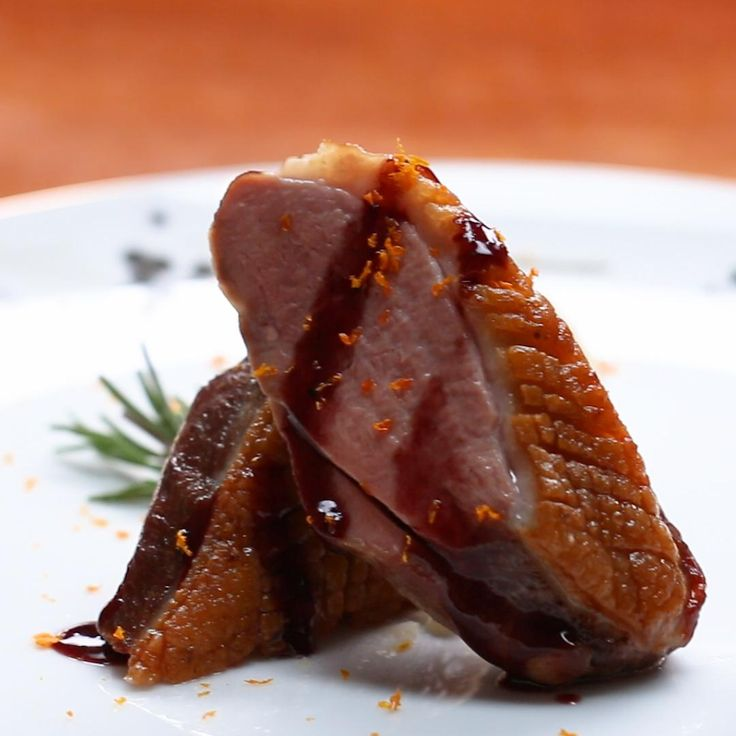 Seared Duck Breast With Red Wine Jus And Orange, Olive Oil Mash Recipe by Tasty