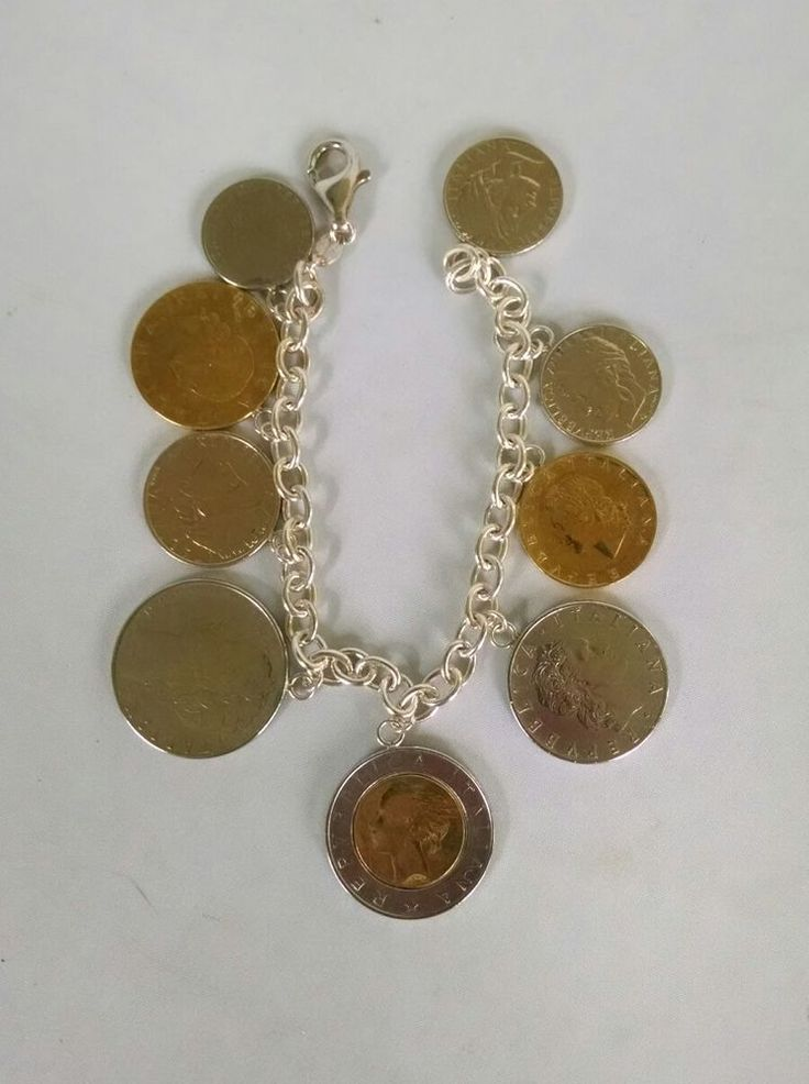 "Milor Italy Sterling Silver 925 Italian Lira Coins Charm Bracelet 7.5"" Coin QVC | Jewelry & Watches, Fine Jewelry, Fine Bracelets | eBay!"