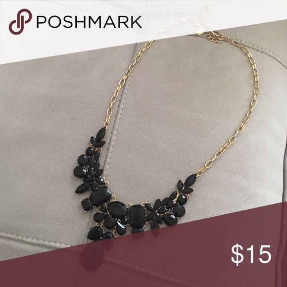 Black Stone Statement Necklace Gold tone with black stones. Jewelry Necklaces