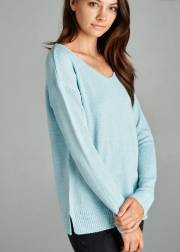 V-Neck Ice Blue Sweater (S-L) | Zen | Pinterest | Blue sweaters ...
