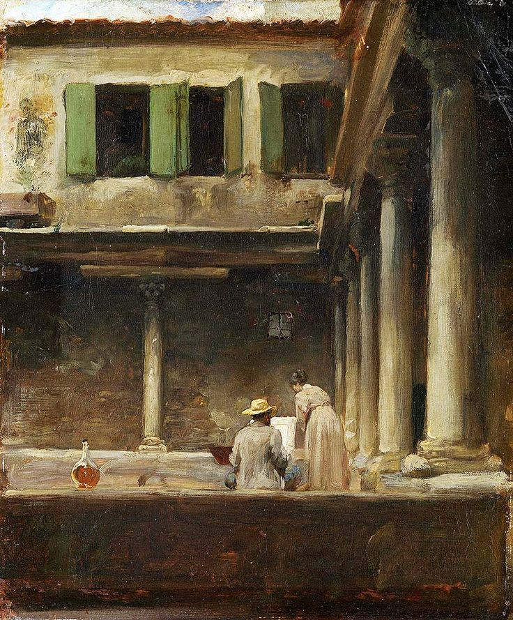 """leighton frederick an artist sketching in the cloister of stt gregori venice (from <a href=""""http://www.oldpainters.org/picture.php?/28945/category/12790""""></a>)"""