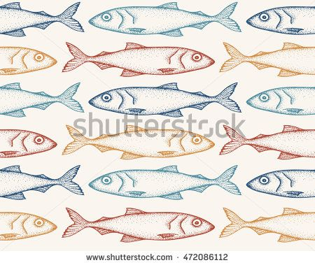 #Pattern with hand drawn doodle #fish in red, blue and yellow colors on the beige background