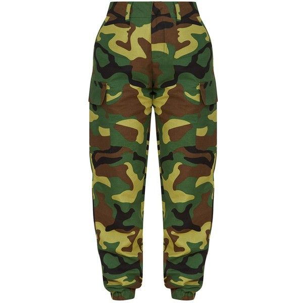 d5e2b5d0e7aae Petite Green Camo Print Cargo Trousers ($42) ❤ liked on Polyvore featuring  pants