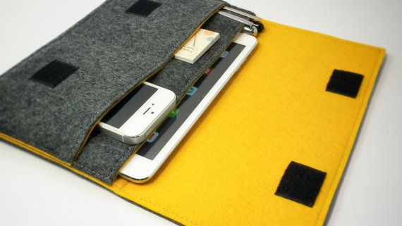 iPad Mini Sleeve / iPad Mini Case / iPad Cover in Mottled Dark Grey and Mustard Yellow Wool Felt on Etsy, $34.02