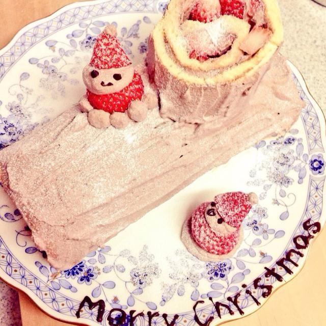 今更ですが、クリスマスに作ったブッシュドノエル(*´°`*) - 3件のもぐもぐ - ブッシュ・ド・ノエル by Noah