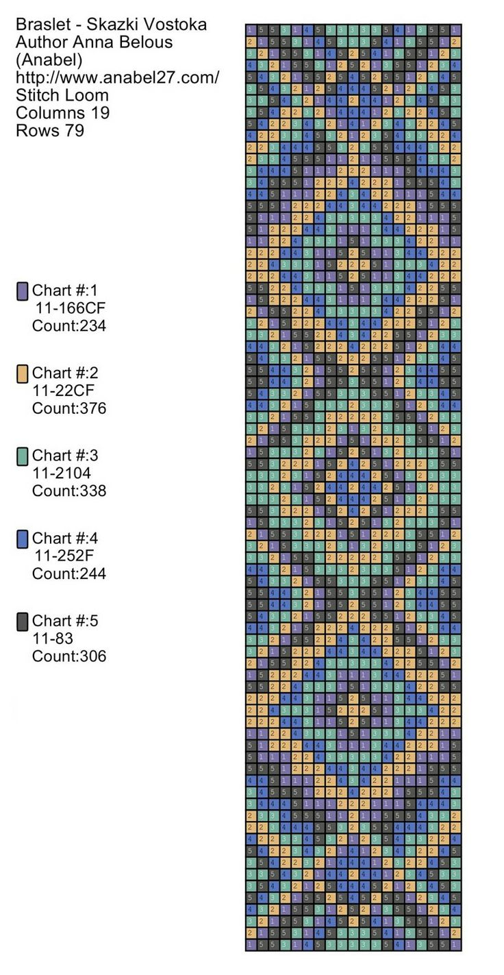 "Diagram of the bracelet ""Tales of the Orient""-weaving machine~~~ http://www.anabel-beadpatterns.com/"