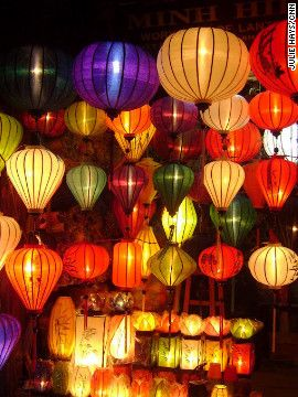 Hoi An is known for the colorful lanterns that line the streets and stores of the historic district. Lantern vendors hawk their creations on street corners every night.