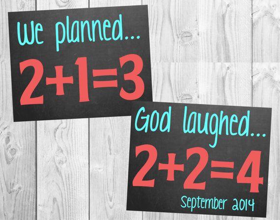 Pregnancy Announcement Chalkboard For Twins // (11x14) Personalized *Digital File* MMasonDesigns