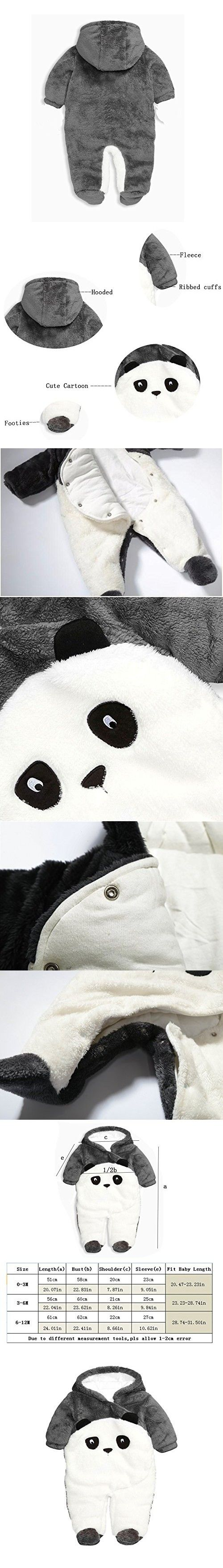 Fairy Baby Unisex Baby Winter Flannel Panda Outfits Onesie Romper,6-12M