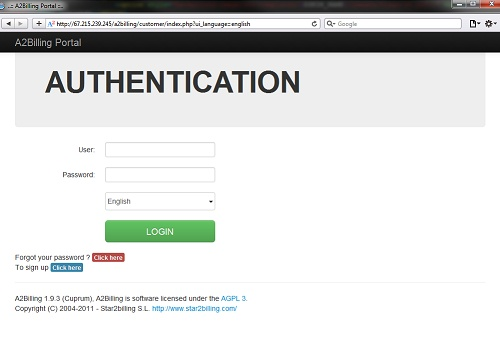 Login interface customized with Twitter bootstrap for A2Billing 1.9.4