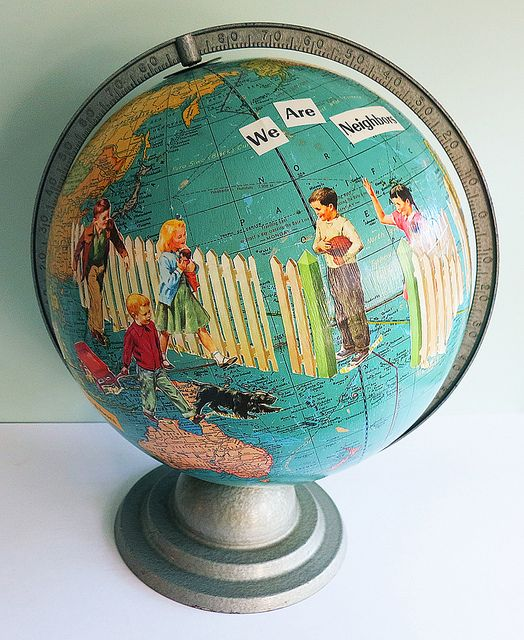 Decoupage an old globe