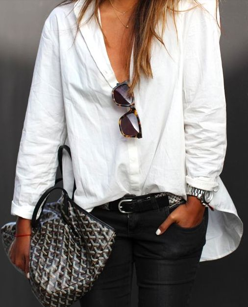 "white + black + goyard ""I love this go to look...Great for everyday or even accessorize for special occasion!"" bel"