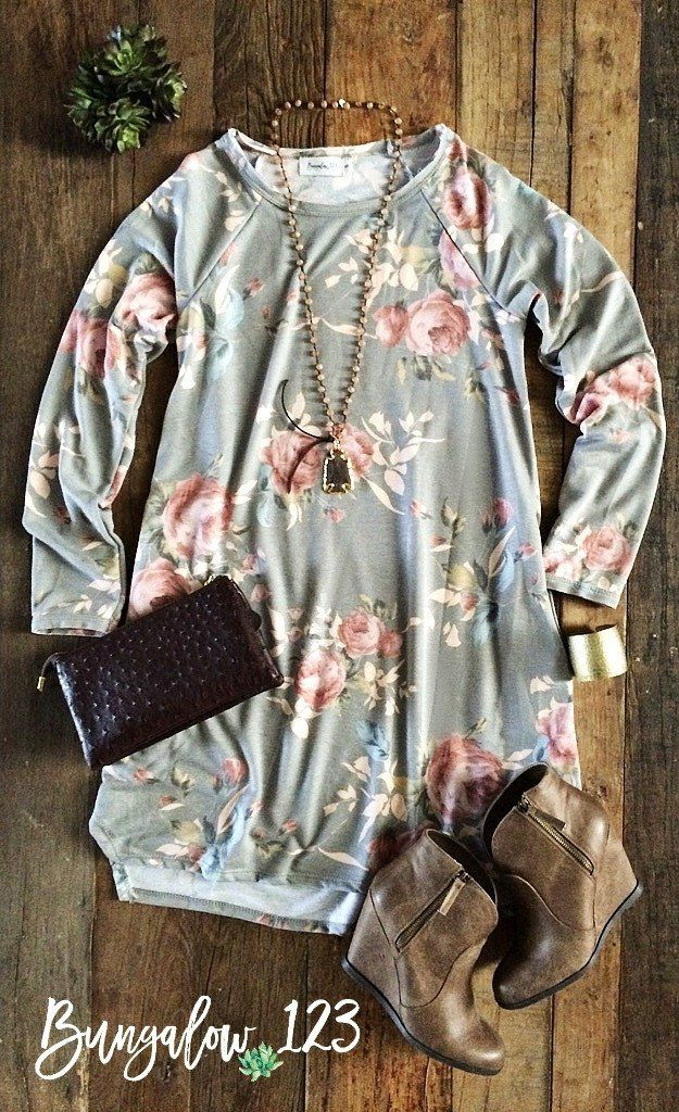 Comfortable French Terry Tunic in a soft Heather Gray and Rose Floral print. Looks great alone with Fall Booties or pair with leggings for cooler weather. If in-between sizes, we recommend ordering th