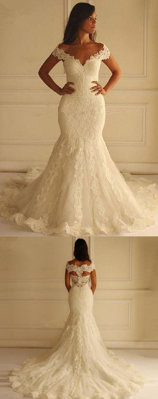 elegant off the shoulder vintage lace trumpet/mermaid wedding dress