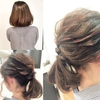 ミディアムヘアでも手軽にできるアレンジ。両サイドから少しずつ毛束をねじっていき低めのポニーテールに。おくれ毛を残すのがポイント。