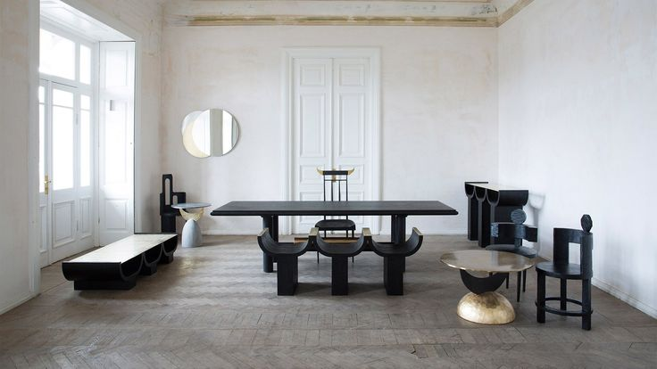 Tbilisi-based, all-female studio Rooms is presenting patinated metal tables and sculptural black timber chairs at The Future Perfect gallery in New York.