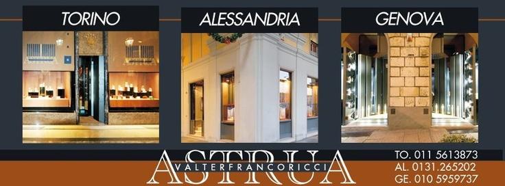 Le sedi del guppo Valter Franco Ricci Spa: Astrua Torino - Ricci Laboratorio Alessandria - Astrua Genova