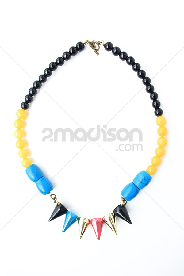 The Spike Rock  black pearls, yellow stones, turqouise and acrylic spike. Deigner Ana Jewelry, Colection Colorfull Rock Collection