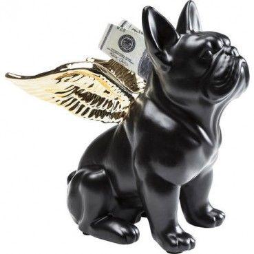 #Tirelire Sitting #Angel #Dog #or et #noir Kare Design