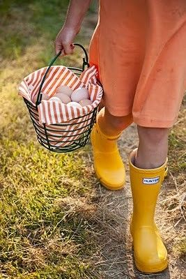 Sometimes, I wish this was all my life was about. Wearing yellow rain boots, a little dress, & gathering eggs.