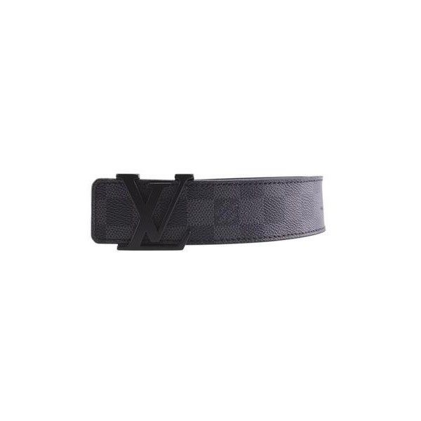 Pre-owned Louis Vuitton M9808 Damier Graphite Coated Canvas Belt (1.135 BRL) ❤ liked on Polyvore featuring accessories, belts, grey leather belt, buckle belt, louis vuitton belt, grey belt and real leather belts