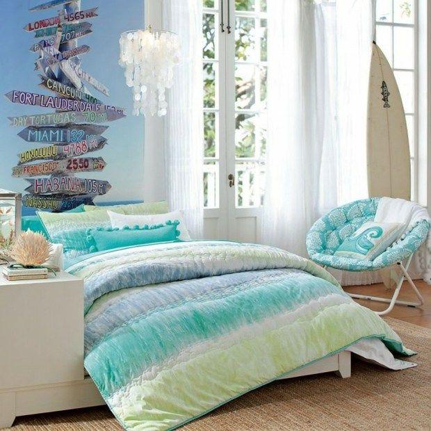 chambre ado fille bleu blanc - Idee Deco Chambre Ado Vintage