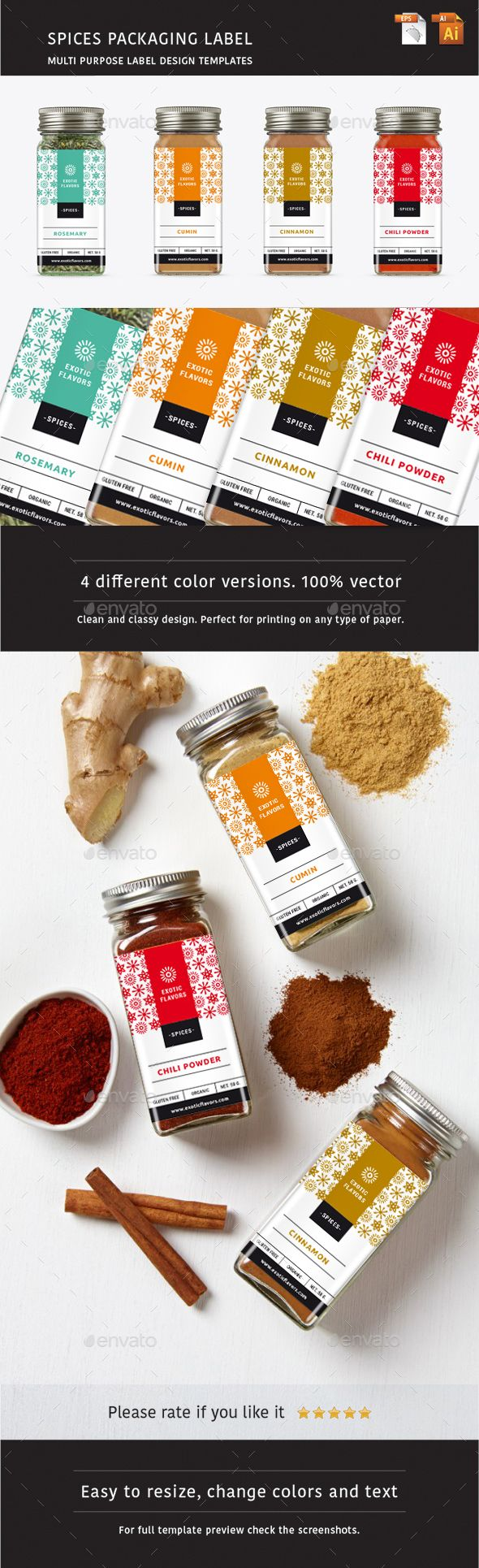 Spices Packaging Label ITEM DESCRIPTION: Clean and classy design. Four different colors. Files are easily editable. Fully vector files. Text/Font and Colors can be altered as needed. All Image are in vector format, so can customise easily. It can be used in Similar product too. Mockups are only for representational purposes.