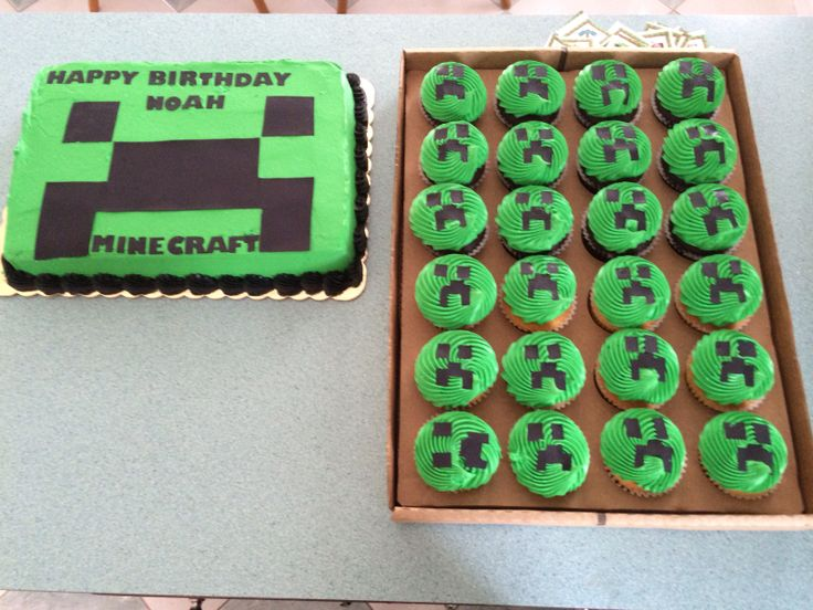 Minecraft birthday cake and cupcakes | Party Ideas ...
