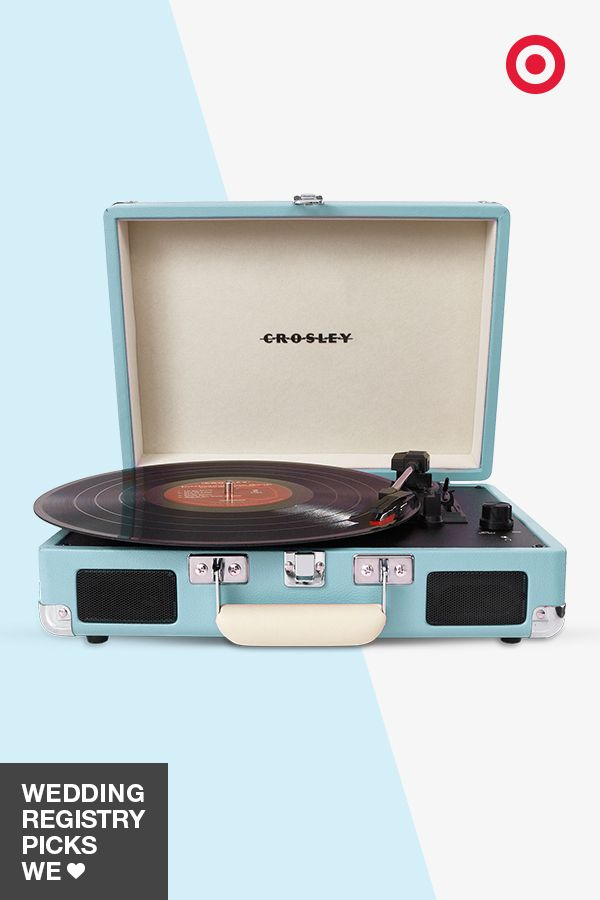 Just for the record, the Crosley turntable is a great addition to your wedding registry. This model is portable and has built-in speakers, meaning you can play your favorite vinyls wherever you go. Plus, it comes in lots of unique colors, including this eye-catching turquoise.