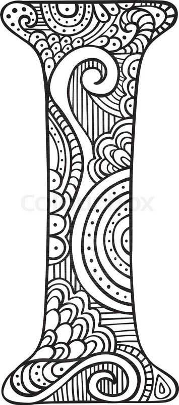 Stock vector of 'Hand drawn capital letter I in black