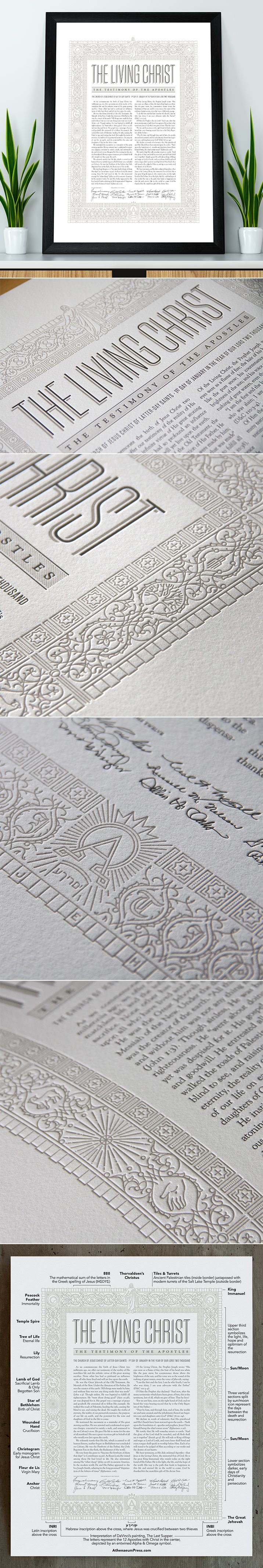 """The Living Christ. A beautiful letterpress printed design inspired by the life, death and resurrection of Jesus Christ. The line work sinks deep into thick, cotton paper. Icons and symbols adorn the decorative border, referencing some of the recognizable representations of Christian history while other elements are conveyed more abstractly. The Living Christ design is 12x16"""" on a 16x20"""" sheet of 100% cotton paper—a standard size for easy and inexpensive framing. #thelivingchrist #ldsart…"""
