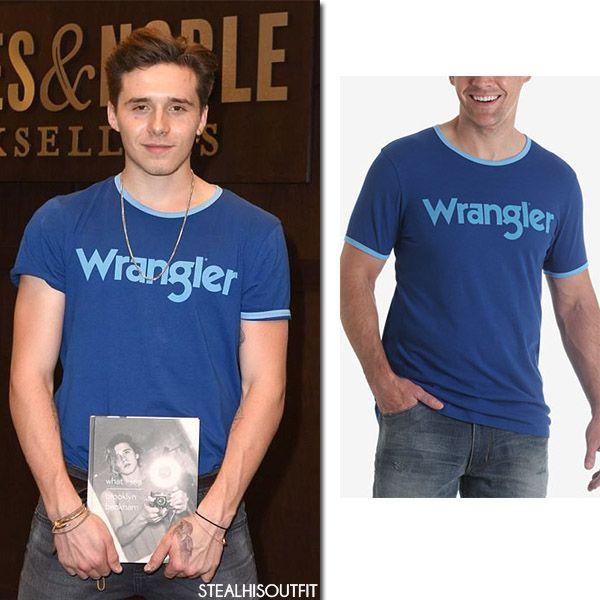 Brooklyn Beckham in blue Wrangler t-shirt