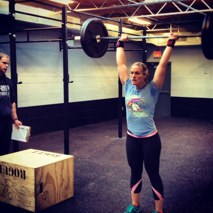 """CrossFit Football   Strength & Conditioning for the Power Athlete.   Fight Gone Go F* Yourself-3 rounds 1 min at each station. Rest 1 min between rounds.  Squat 155#  DB bent over row 30#  Box Jumps 20""""  DB push press 30#  KB swing 1.5 pood"""