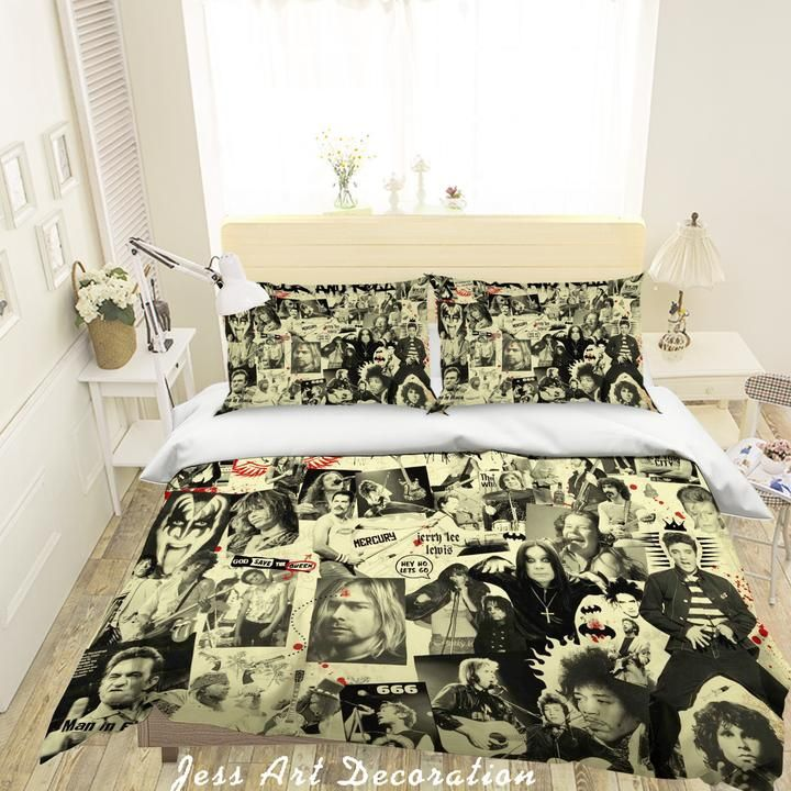 1 3d Retro Rock Star Quilt Cover Set Bedding Set Pillowcases 76 Jessartdecoration In 2020 Bedding Set Bedding Sets Quilt Cover Sets