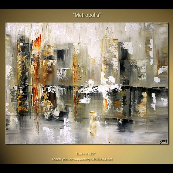Original Large Contemporary Abstract Painting Texture Palette Knife Painting Abstract Cityscape Art on Deep Stretched Canvas by OSNAT